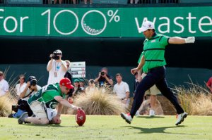 After seeing placekicker Padraig Harrington's leg strength, Bryce immediately picked him up