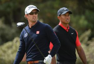 Adam Scott and Tiger Woods had trouble adjusting to the slower speeds on Sunday, and it cost them