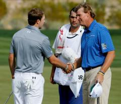 The Big Easy shakes hands after his quarterfinal win over Jordan Spieth